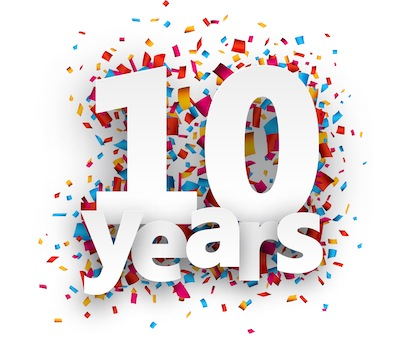 Ten years paper confetti sign.
